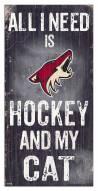 """Arizona Coyotes 6"""" x 12"""" Hockey & My Cat Sign"""