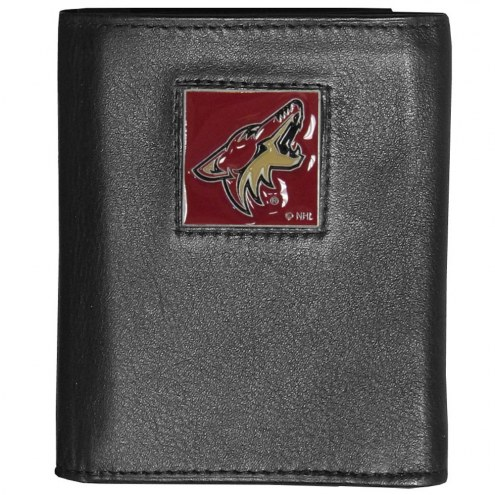Arizona Coyotes Deluxe Leather Tri-fold Wallet in Gift Box