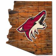 Arizona Coyotes Distressed State with Logo Sign