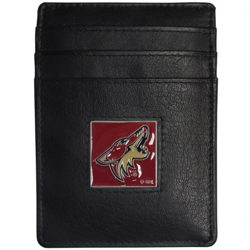 Arizona Coyotes Leather Money Clip/Cardholder in Gift Box