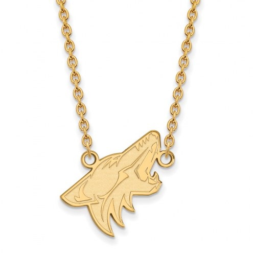Arizona Coyotes Sterling Silver Gold Plated Large Pendant Necklace