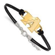 Arizona Diamondbacks Gold Plated Sterling Silver Leather Bracelet