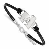 Arizona Diamondbacks Sterling Silver Black Leather Bracelet