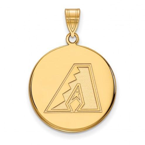Arizona Diamondbacks Sterling Silver Gold Plated Large Disc Pendant