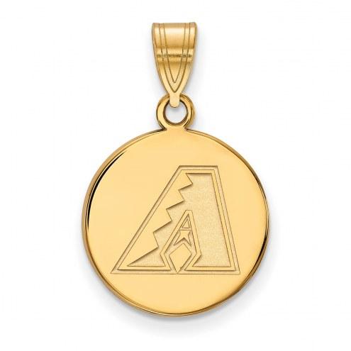 Arizona Diamondbacks Sterling Silver Gold Plated Medium Disc Pendant