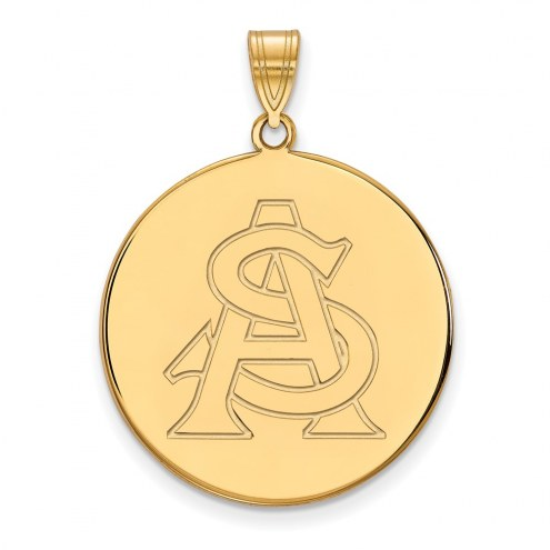 Arizona State Sun Devils NCAA Sterling Silver Gold Plated Extra Large Disc Pendant