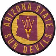 """Arizona State Sun Devils 12"""" Circle with State Sign"""