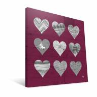 "Arizona State Sun Devils 12"" x 12"" Hearts Canvas Print"