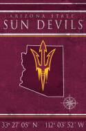 "Arizona State Sun Devils 17"" x 26"" Coordinates Sign"