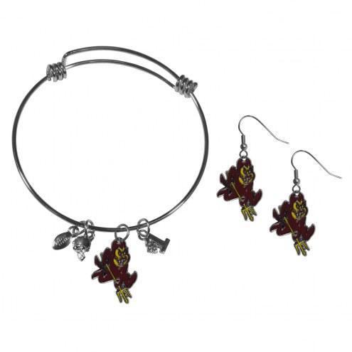 Arizona State Sun Devils Dangle Earrings & Charm Bangle Bracelet Set
