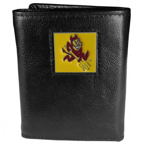 Arizona State Sun Devils Deluxe Leather Tri-fold Wallet in Gift Box