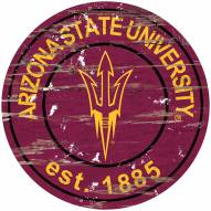 Arizona State Sun Devils Distressed Round Sign