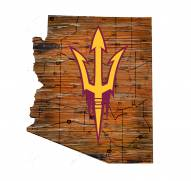 Arizona State Sun Devils Distressed State with Logo Sign
