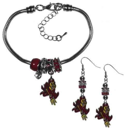 Arizona State Sun Devils Euro Bead Earrings & Bracelet Set