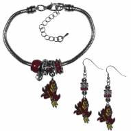 Arizona State Sun Devils Euro Bead Earrings & Bracelet Set