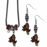 Arizona State Sun Devils Euro Bead Earrings & Necklace Set