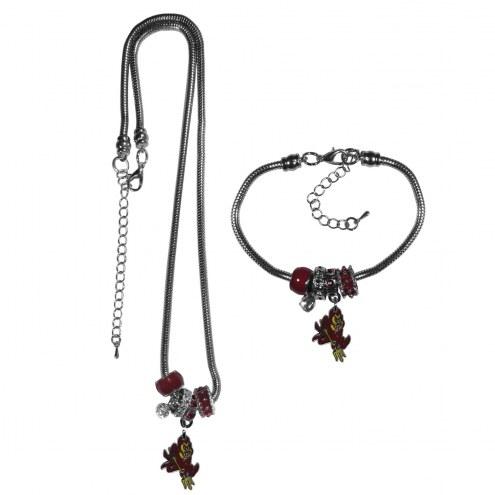Arizona State Sun Devils Euro Bead Necklace & Bracelet Set