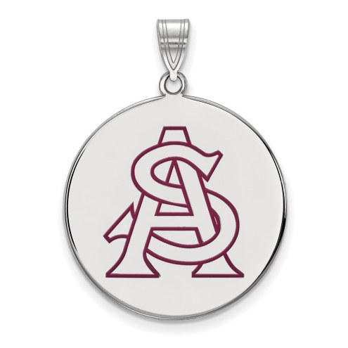 Arizona State Sun Devils Sterling Silver Extra Large Enameled Disc Pendant