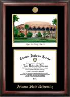 Arizona State Sun Devils Gold Embossed Diploma Frame with Campus Images Lithograph