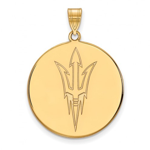 Arizona State Sun Devils Sterling Silver Gold Plated Extra Large Disc Pendant