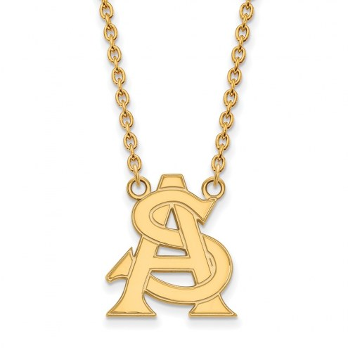 Arizona State Sun Devils Sterling Silver Gold Plated Large Pendant Necklace