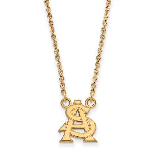Arizona State Sun Devils Sterling Silver Gold Plated Small Pendant Necklace