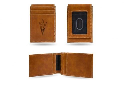 Arizona State Sun Devils Laser Engraved Brown Front Pocket Wallet