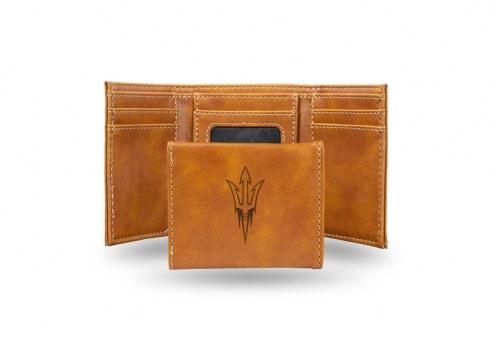 Arizona State Sun Devils Laser Engraved Brown Trifold Wallet