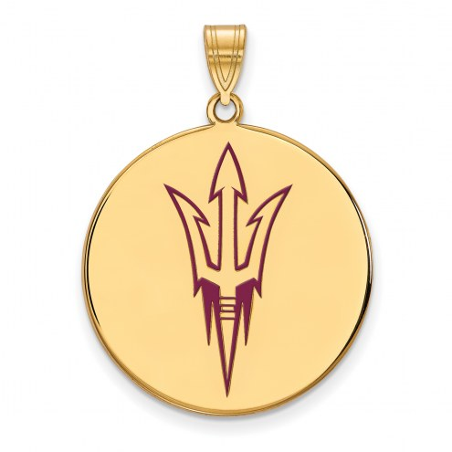 Arizona State Sun Devils Sterling Silver Gold Plated Extra Large Pendant