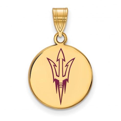 Arizona State Sun Devils Sterling Silver Gold Plated Medium Pendant