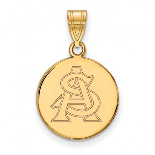 Arizona State Sun Devils NCAA Sterling Silver Gold Plated Medium Disc Pendant