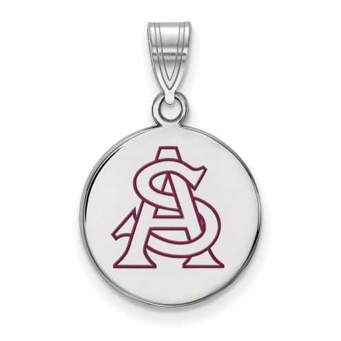 Arizona State Sun Devils NCAA Sterling Silver Medium Enameled Disc Pendant
