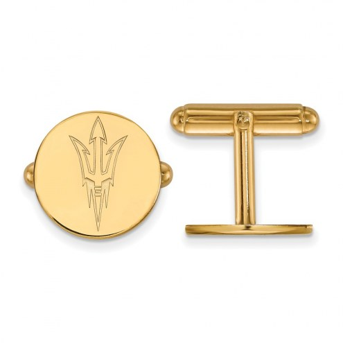Arizona State Sun Devils NCAA Sterling Silver Gold Plated Cuff Links