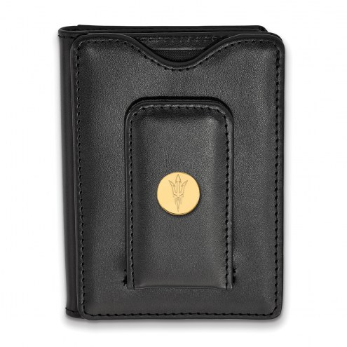 Arizona State Sun Devils Sterling Silver Gold Plated Black Leather Wallet