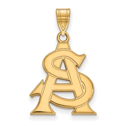 Arizona State Sun Devils Sterling Silver Gold Plated Large Pendant