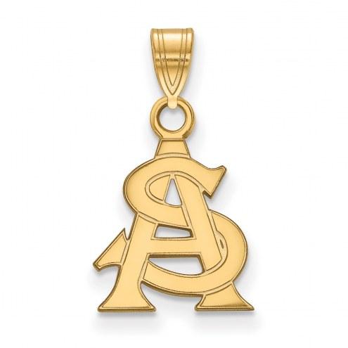 Arizona State Sun Devils Sterling Silver Gold Plated Small Pendant