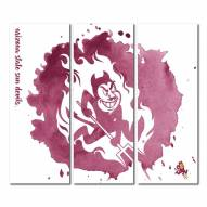 Arizona State Sun Devils Triptych Watercolor Canvas Wall Art