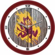 Arizona State Sun Devils Weathered Wood Wall Clock
