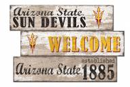 Arizona State Sun Devils Welcome 3 Plank Sign