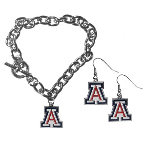 Arizona Wildcats Chain Bracelet & Dangle Earring Set