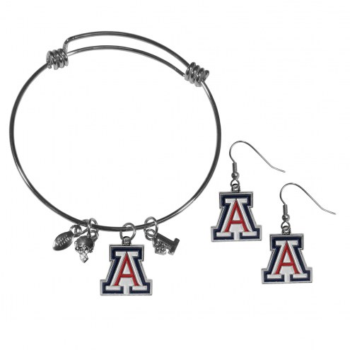 Arizona Wildcats Dangle Earrings & Charm Bangle Bracelet Set