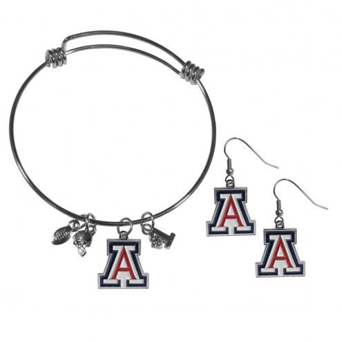 Arizona Wildcats Dangle Earrings & Charm Bangle Bracelet Set