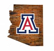 Arizona Wildcats Distressed State with Logo Sign
