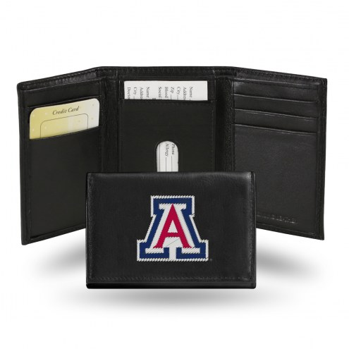 Arizona Wildcats Embroidered Leather Tri-Fold Wallet