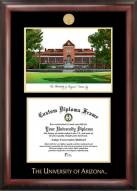 Arizona Wildcats Gold Embossed Diploma Frame with Campus Images Lithograph