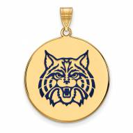 Arizona Wildcats Sterling Silver Gold Plated Extra Large Enameled Disc Pendant