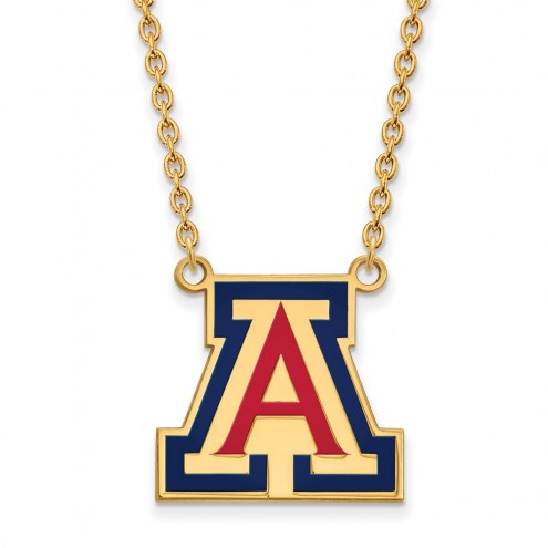 Arizona Wildcats Sterling Silver Gold Plated Large Enameled Pendant Necklace