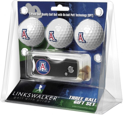 Arizona Wildcats Golf Ball Gift Pack with Spring Action Divot Tool