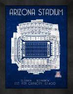 Arizona Wildcats Retro Stadium Chart Framed Print