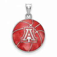 Arizona Wildcats Sterling Silver Enameled Basketball Pendant